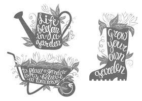 Gardening typografi affischer set. Samling av trädgårdsskivor med inspirerande citat.