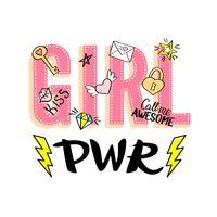 Tjej Effektbokstäver med flickaktiga klotter och handritade fraser för valentines dagkortdesign, flickans t-shirtutskrift. Handritad snygg komik feminism slogan i tecknad stil.