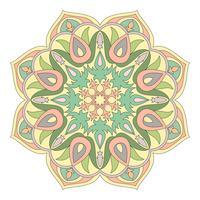 Vektor Mandala. Orientaliskt dekorativt element. Islam, arabiska, indiska, turkiska, pakistan, kinesiska, osmanska motiv. Etniska designelement. Handdragen mandala. Färgrik mandala symbol för din design.