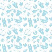 Vektornahtloses Muster mit Schätzchenelementen. Neugeborene Kleidung und Zubehör, die Hintergrund in der Gekritzelart für Gewebe, Packpapier, scrapbooking wiederholen.