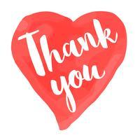 Valentinstagkarte mit Hand gezeichneter Beschriftung - danke - und Aquarellherzform. Romantische Illustration für Flyer, Plakate, Feiertagseinladungen, Grußkarten, T-Shirt Drucke.