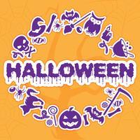 Halloween banner, skylt, inbjudan eller hälsningskort. Vektor illustration.