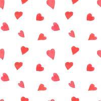 Aquarell Herzen nahtlose Muster. Valentinstag Hintergrund mit gemalten roten Herzen zu wiederholen. Romantische Textur für Textilien, Geschenkpapier, Tapeten oder Scrapbooking.