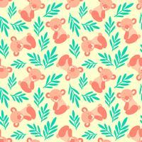 Nahtloses Muster mit niedlichen Koalabären und -blättern. Wiederholen des Hintergrundes für Textildrucke der Kinder, Packpapier. Scherzt Tiermuster. vektor