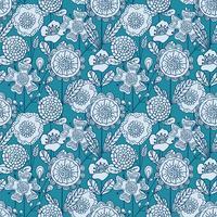 Vektor sömlös färgstark blommig bakgrund. Handritad klotterblomma mönster för färgläggning bok, textil design, tapeter, scrapbooking.