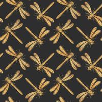 Gyllene texturerat dragonfly vektor sömlöst mönster för textil design, tapeter, papper eller scrapbooking.