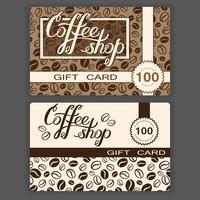 Kaffebutik presentkort mallar. Vektor illustration av kafé presentkort med hand bokstäver och kaffebönor bakgrund.