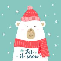 Vector Illustration des netten Karikaturbären in der warmen Mütze und im Schal mit Hand geschriebener Phrase - lassen Sie es für Plakate schneien, T-Shirt Drucke, Grußkarten.