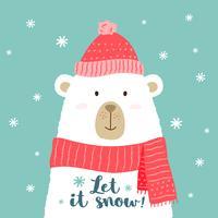 Vektor illustration av söt tecknad björn i varm hatt och halsduk med handskriven fras - Låt det snö- för plaketter, t-shirt utskrifter, gratulationskort.