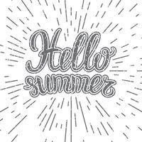 Vector die Hand, die inspirierend Typografieplakat hallo Sommer beschriftet. Hallo Sommer Schriftzug. Inspirierende Zitat Hallo Sommer. Monochrome Schriftzug Hallo Sommer