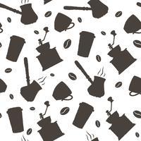 Einfarbige gezeichnetes Kaffeemuster des Vektors Hand.