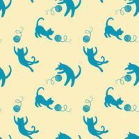 Sömlöst mönster med söta spelande katter på gul bakgrund.