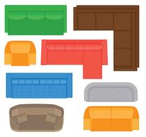 Möbler uppifrån samling för inredning. Vector illustration i platt stil. Sats av olika sofaltyper för planlösning.