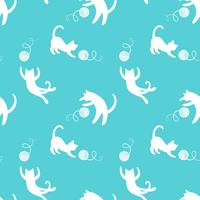 Sömlöst mönster med söta spelande katter på gul bakgrund. vektor