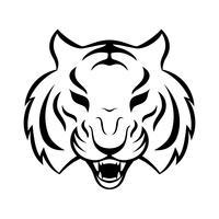 Tiger-Symbol, die isoliert auf weißem Hintergrund. Tiger Logo Vorlage, Tattoo-Design, T-Shirt drucken. vektor