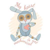 Söt mekanisk kanin som sitter med rosa hjärta.
