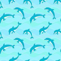Vector nahtloses Muster mit Delphinen auf Wellenhintergrund.