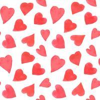 Akvarell hjärtan sömlös mönster. Upprepa Alla hjärtans dag bakgrund med målade röda hjärtan. Romantisk textil, omslagspapper, tapeter eller scrapbookingstruktur. vektor