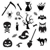 Reihe von Halloween-Elementen. Sammlung der Vektorikone für Halloween-Design.