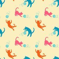 Sömlöst mönster med söta färgade lekkatter. Upprepande katter bakgrund