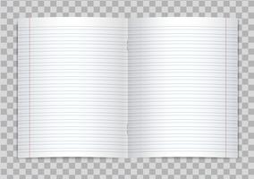 Vektor öffnete realistisches gezeichnetes Volksschuleschreibheft mit roten Rändern auf transparentem Hintergrund. Mock-up oder Vorlage von leeren linierten geöffneten Seiten von Notebook oder Heft mit Heftklammern.