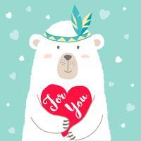 Vektor illustration av söt tecknad björn som håller hjärta och handskrivet bokstäver För dig för valentinkort, skyltar, t-shirt utskrifter, gratulationskort. Alla hjärtans dag hälsning.