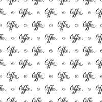 Vektor sömlöst mönster med handrawn bokstäver Kaffe och kaffebönor. Upprepande bakgrund för papper, scrapbooking, textil design.