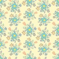 Sömlös färgstark bakgrund med vårblommor. Blomönster för textil.