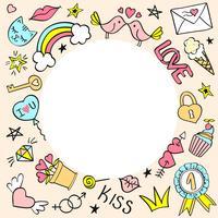 Runda ram med handgjorda flickaktiga klotter för valentinsdag, födelsedagskort, affischer.