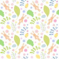 Sömlöst mönster med söta kaniner. Påsk bakgrund.