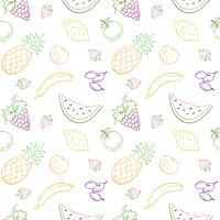 Seamless vektor mönster med frukt och bär.
