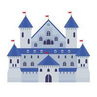 Vektorillustration eines Schlosses in der flachen Art. Mittelalterliche Steinfestung. Abstraktes Fantasieschloss kann in den Büchern, im Spielhintergrund, im Webdesign, in der Fahne, in usw. benutzt werden.