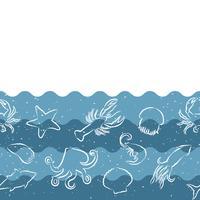 Horisontellt upprepande mönster med skaldjursprodukter. Skaldjur sömlös banner med undervattensdjur. Tegeldesign för restaurang, fiskmatindustri eller marknadsaffär.