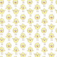 Sömlöst mönster med söta kycklingar. vektor