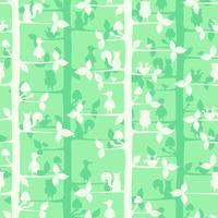 Nahtloses Vektormuster mit Bäumen und Waldvögeln und -tieren. vektor