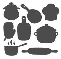 Sammlung von Kochetikett oder Logo. Schattenbilder von Küchengeräten und von kochenden Versorgungsmaterialikonen.