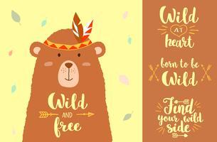 Vektor illustration av söt tecknad björn med stam designelement och handskrivna fraser för plaketter, t-shirt utskrifter, gratulationskort.