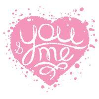 Übergeben Sie gezogene Karte mit Rosa gemaltem Herzen für die Heirat, Valentinstag. Du und ich Schriftzug.