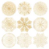 Satz der arabischen Mandala mit 9 von Hand gezeichneten Vektoren auf weißem Hintergrund. Ethnische Dekoration