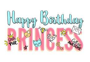 Grattis på födelsedagen Prinsessan bokstäver med flickaktiga klotter och handritade fraser för kortdesign, flickans t-shirt, affischer. Handritad slogan.
