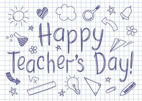 Lyckligt lärare dag hälsningskort på kvadratiskt copybook ark i sketchy stil med handdrawn school doodles.