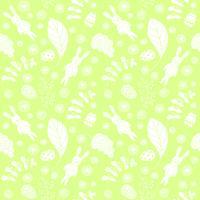 Sömlöst mönster med söta kaniner och blommiga element.