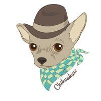 Handritad vektor illustration av hipster hund för kort, t-shirt tryck, skylt. Mode porträtt av chihuahua hund som bär hatt och cravat.