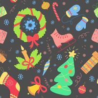 Nahtloses Muster mit Weihnachtselementen. Vektor Neujahr Hintergrund.