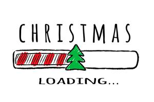 Progress bar med inskription - Julbelastning och gran-tree i sketchy stil. Vektorjulillustration för t-shirtdesign, affisch, hälsning eller inbjudningskort.