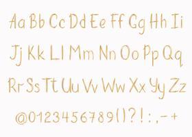 Gyllene alfabetet i sketchy stil. Vektor handskriven penna bokstäver, siffror och skiljetecken. Guld penna handskrift typsnitt.