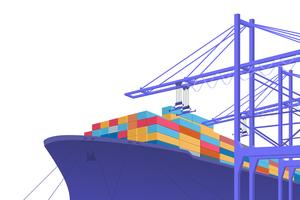 Frakttransporter. Internationellt byte. grafisk design med kopia utrymme. Vektor illustration