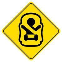 Klistermärke Baby ombord. Symbol för en baby i bilsitsen. Barnsäkerhetsskylt för bilfönster.
