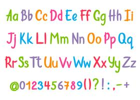 Coloful alfabet i sketchy stil. Vektor handskriven penna bokstäver, siffror och skiljetecken. Skriva teckensnitt