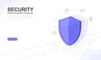 Begreppet säkerhetsteknik. målsida grafisk design webbplats mall. Vektor illustration